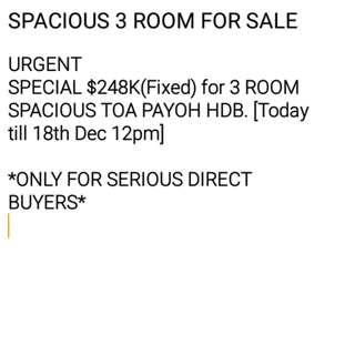 Spacious 3-Room HDB in Toa Payoh $248K