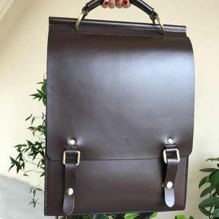 English Style PU Leather Backpack