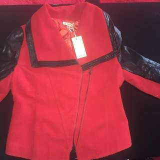Leather And Polyester Jacket