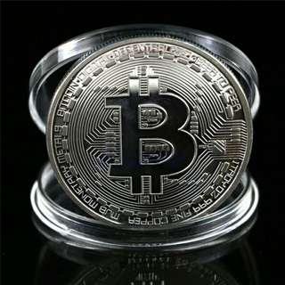 Silver Plated Bitcoin Coin