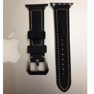 Apple Watch 錶帶 Panerai 麂皮款 黑色 38mm 42mm Apple Watch Leather Strap black color