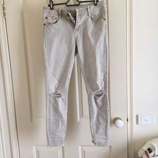 Cream/Beige Ripped skinny jeans 7/8