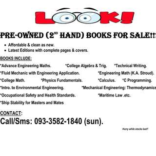 Pre-owned (2nd hand) books FOR SALE!!!