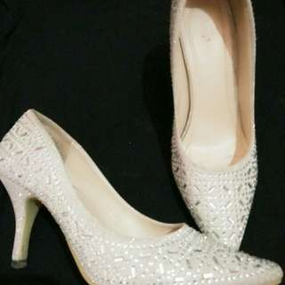 Silver heels shoes