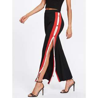 Contrast Button Side Pants