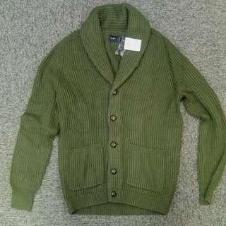 J.Crew Factory深綠色粗線匙領cardigan sweater