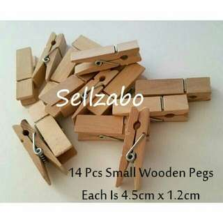 14 Mini Wooden Pegs Clips Sellzabo Cute Stationery Stationeries Storage Store Sell Sellers Selling