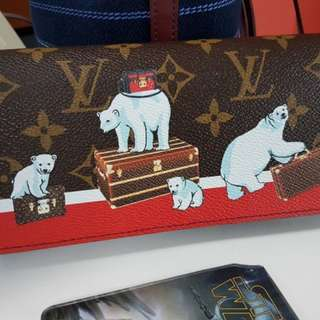 Authentic Louis Vuitton LV Sarah Wallet 2017 Christmas Capsule Polar Bear