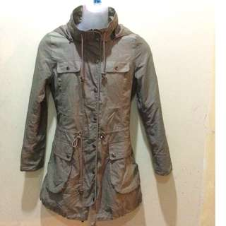 Stylish long hoodie jacket coat green army color