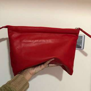 Pedder red leather clutch
