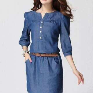 3/4 Sleeved Denim Dress