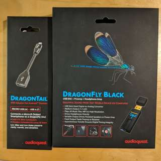 Audioquest DragonFly Black USB DAC/AMP + Audioquest Dragontail USB Adapter for MicroUsb Android Devices