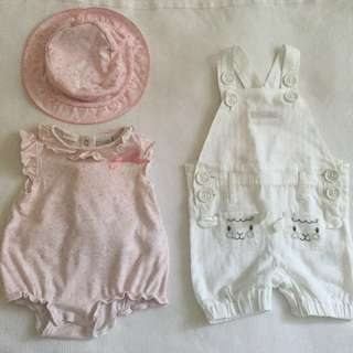 Pumpkin Baby Patch overalls, 3-6mths & Baby world outfit OO