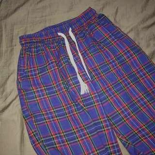 💈復古藍格紋 鬆緊束帶長褲 💈