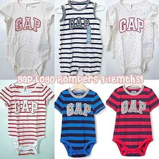 BN Baby GAP Boy/Girl Logo Rompers! 3-18mths available!