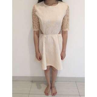 Soft Pink Brukat Dress Size S (Preloved)
