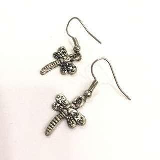 Dragonfly stud drop earrings