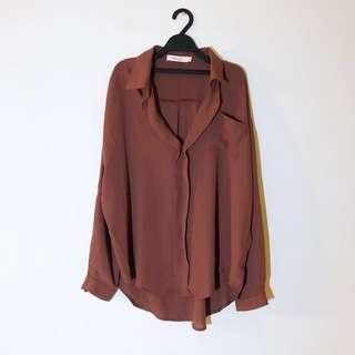 (9成新)starmimi 雪紡襯衫 大地色 長版