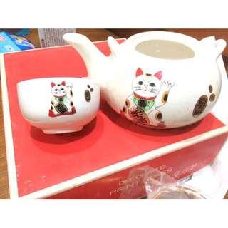 (全新)招財貓 茶壺 5個茶杯