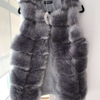 Grey faux fur gillet(vest) size small brand new