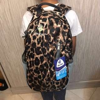 Deuter leopard print backpack / School bag
