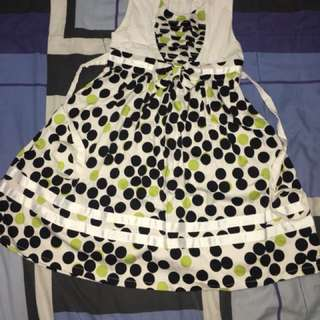 Black green polka dot dress