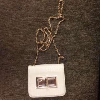 H&M 女生白色鏈條小包