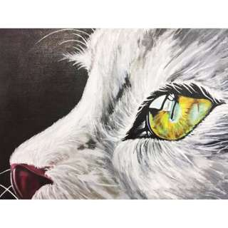 """Mesmerizing Eye"" Cat Acrylic Painting"