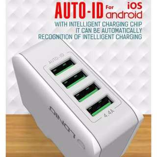 USB Fast Charging 4 Port Travel Charger 4.4A
