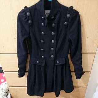 黑色超保暖雙排扣 顯瘦款外套/洋裝
