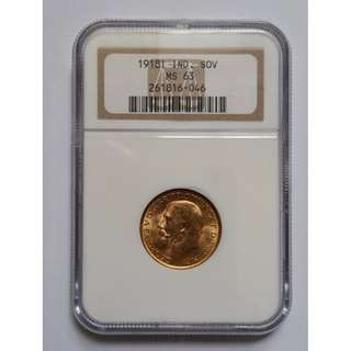 Gold Sovereign 1918i - Bombay Mint. Only issued for 1 year. Scarce NGC MS63. Key date.