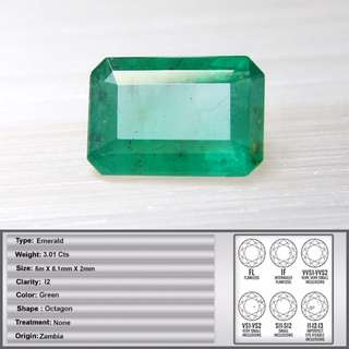 3.01 CT Natural Zambia Emerald