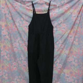 New Culottes Dungaree Jumpsuit Overall in Black