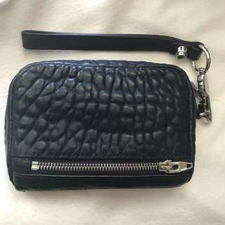 Alexander Wang Midnight Blue Fumo Large Leather Wristlet Clutch