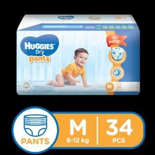 Huggies Medium Pants 34pcs