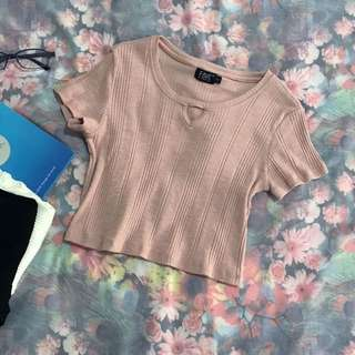 Key Hole Minimalist Ribbed Crop Top in Dusty Pink