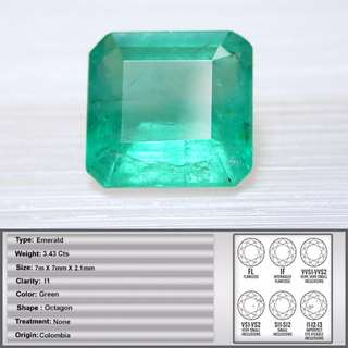 3.43 CT Natural Earth Mined Colombian Emerald