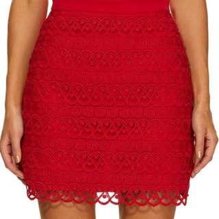 Kookai red lace skirt - size 36