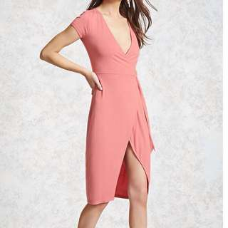 Forever 21 wrap dress pink old rose