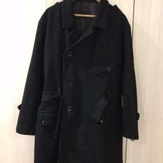 WAM 寬版羊毛混紡黑色長大衣