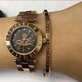 Vivienne westwood 黑底玫瑰金手錶