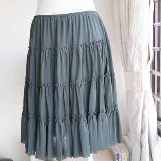 購自日本品牌QVOI?網紗針織裡半截闊裙