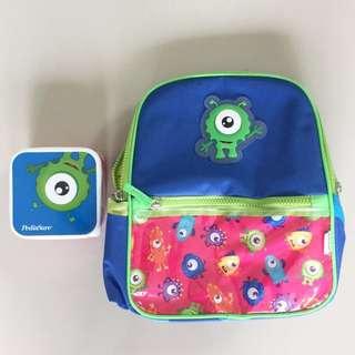 Boy kids monster set of school bag & lunch box