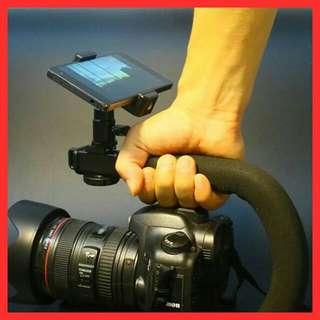 C型攝影支架運動攝影錄影★穩定性提升+ 送手機夾6吋手機手持穩定器外掛三熱靴麥克風補光燈監聽監視0Hut3