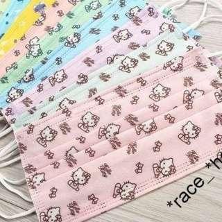 ㊣HELLO KITTY 印花口罩 6色 粉色/藍色/西瓜红/米黄色/綠色/桃红色 $25/10個;$50/25個