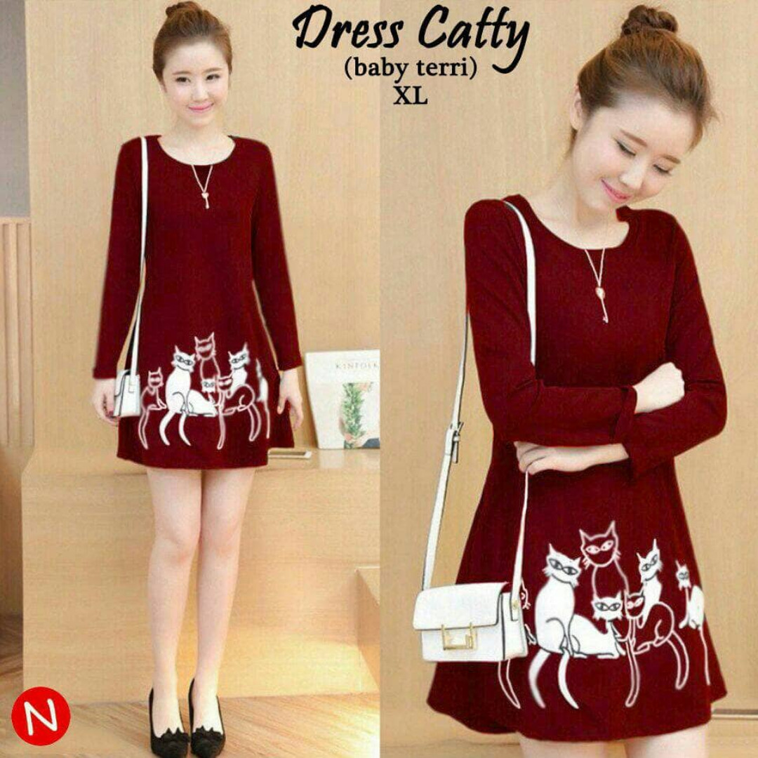 43600 dress catty/midi dress/dress murah/baju wanita murah/baju grosir