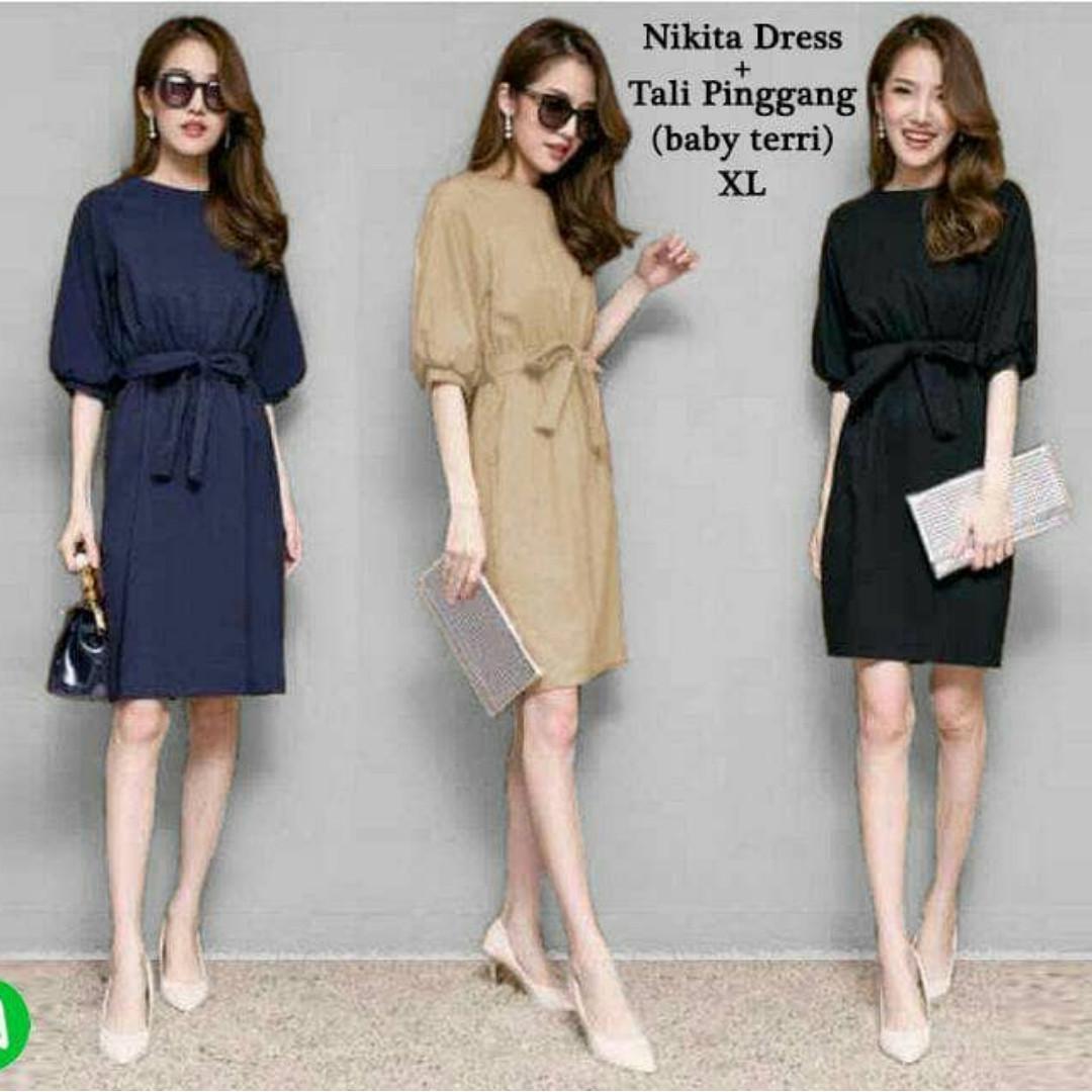45736 nikita dress/midi dress/dress fashion/baju wanita murah grosir