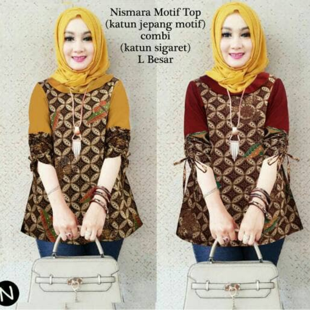 60348 nismara motif top/baju batik wanita/baju tunik/atasan muslim