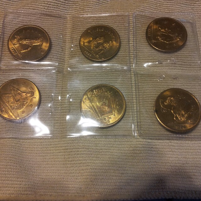 (6) 1984 LOS ANGELES OLYMPICS COINS-MINT