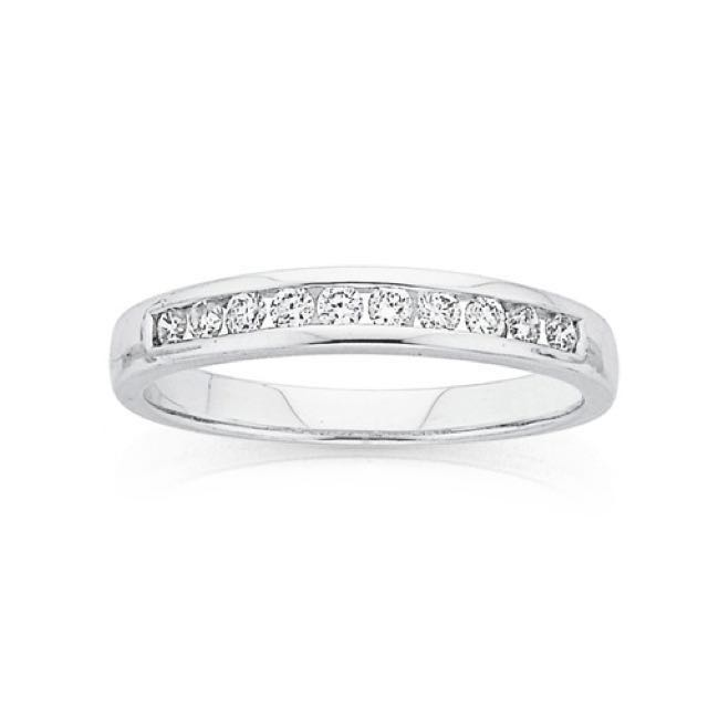 9ct White Gold Diamond Channel Set Anniversary Ring Total Diamond Weight = .25ct